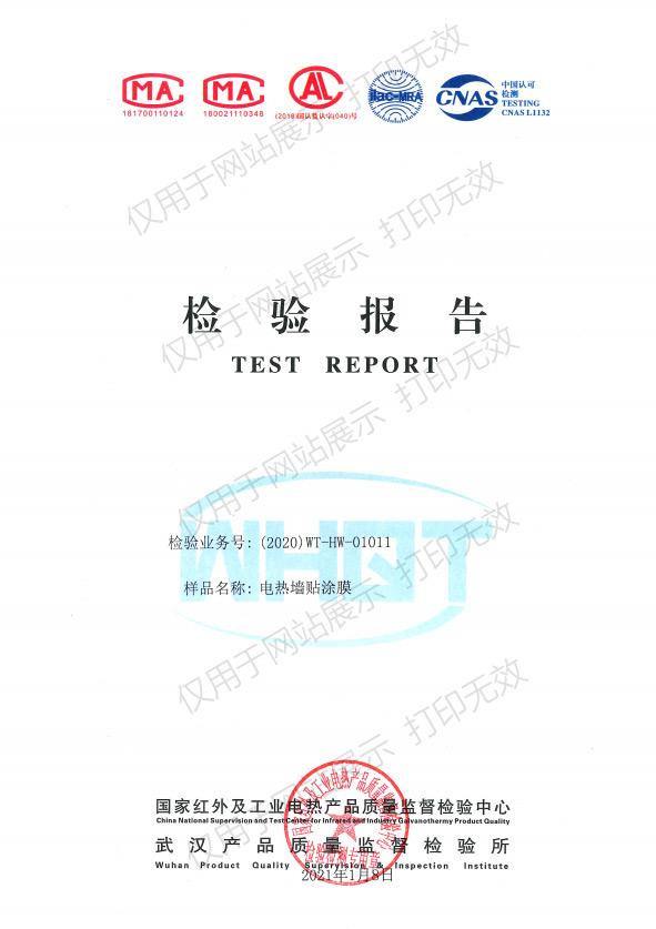 电热墙贴涂膜检验报告